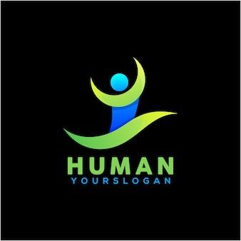 Modèle de conception de logo humain coloré