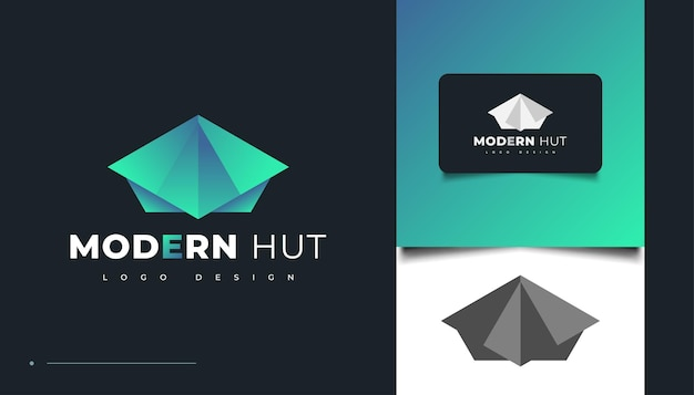 Modèle de conception de logo de hutte moderne. icône ou symbole du chalet bleu