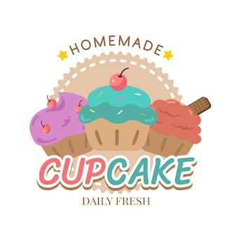Modèle de conception de logo icône cupcakes boulangerie