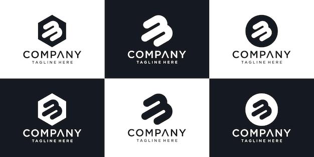 Modèle de conception de logo icône lettre b