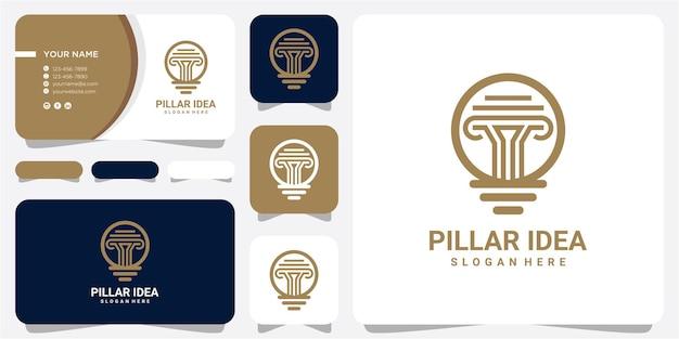 Modèle de conception de logo d'idée de pilier génial avec carte de visite. création de logo ampoule pilier