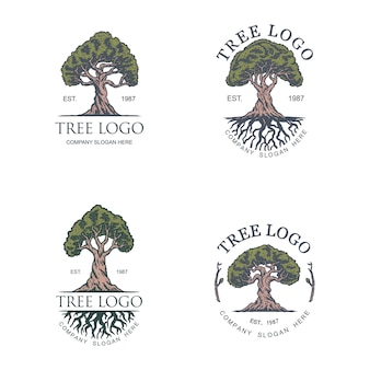 Modèle de conception de logo illustration arbre vintage