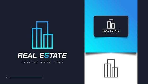 Modèle de conception de logo immobilier abstrait bleu avec style de ligne. création de logo de construction, d'architecture ou de bâtiment