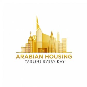 Modèle de conception de logo immobilier arabe