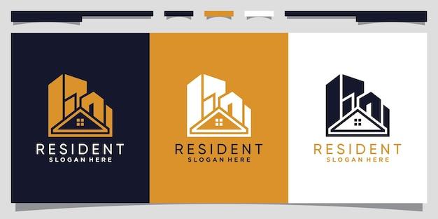 Modèle de conception de logo immobilier avec un concept unique moderne vecteur premium
