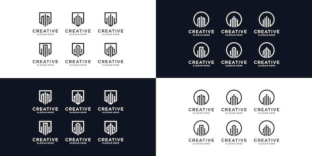Modèle de conception de logo immobilier créatif