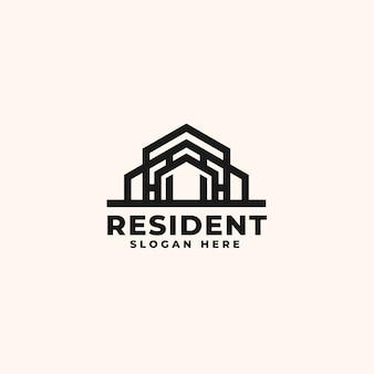 Modèle de conception de logo immobilier - logo de bâtiment de construction et d'architecture