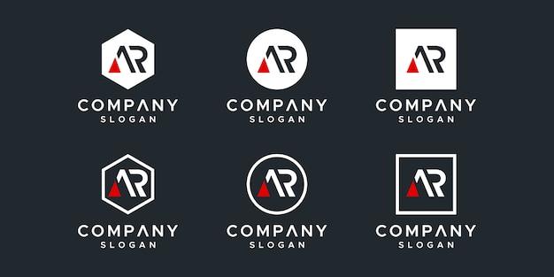 Modèle de conception de logo initiales ar.