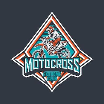 Modèle de conception de logo insigne vintage premium club extrême motocross