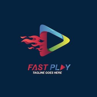 Modèle de conception de logo de jeu de feu
