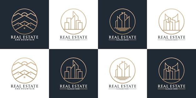 Modèle de conception de logo de jeu immobilier de bâtiments avec la couleur dorée