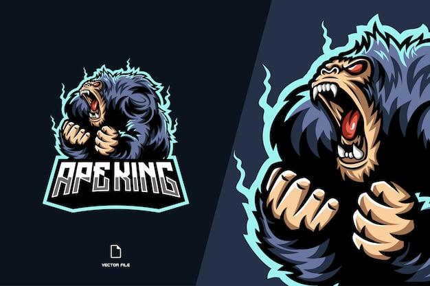 Modèle de conception de logo de jeu de mascotte de singe roi singe