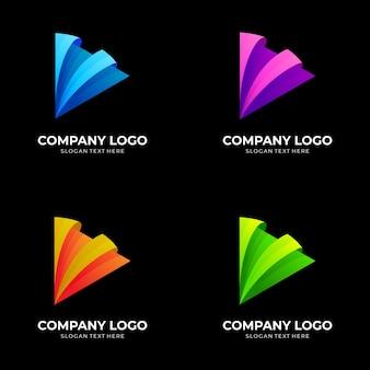 Modèle de conception de logo de jeu, style coloré 3d