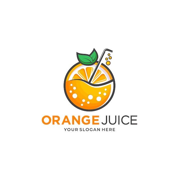 Modèle de conception de logo de jus d'orange