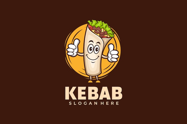 Modèle de conception de logo kebab dans un style mascotte