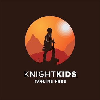 Modèle de conception de logo knight kids