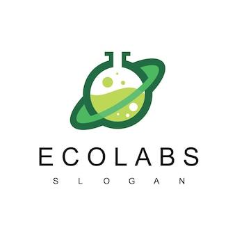 Modèle de conception de logo de laboratoire symbole des sciences de la nature et de la médecine logo d'eco labs