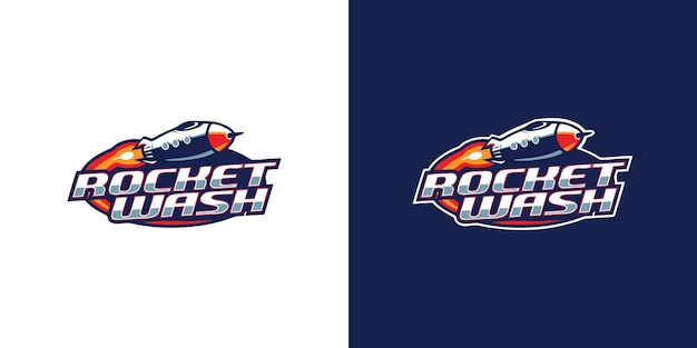 Modèle de conception de logo de lavage de fusée