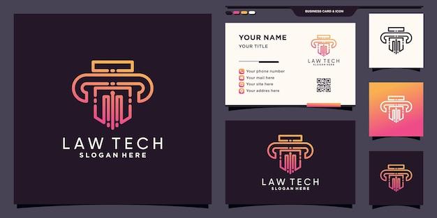 Modèle de conception de logo law tech avec un style d'art au ligne unique et une conception de carte de visite vecteur premium