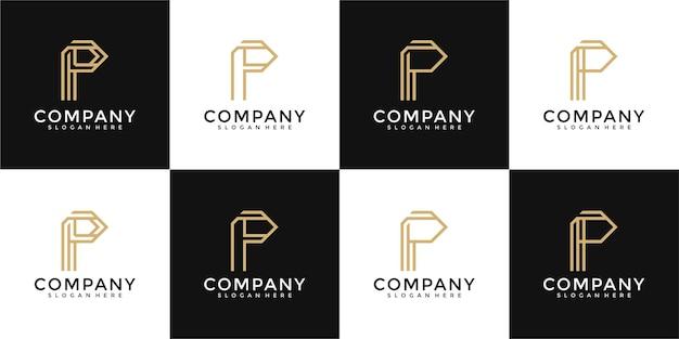 Modèle de conception de logo de lettre abstraite de collection p