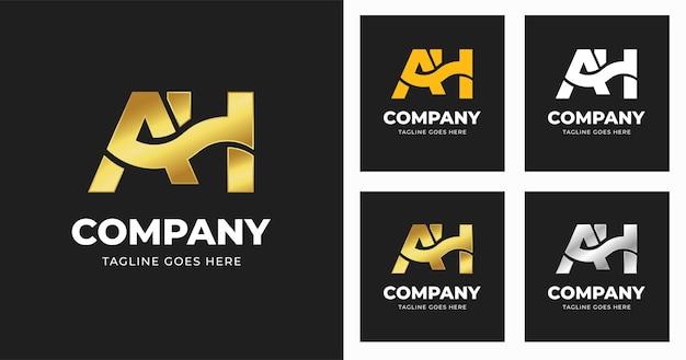 Modèle de conception de logo lettre ah