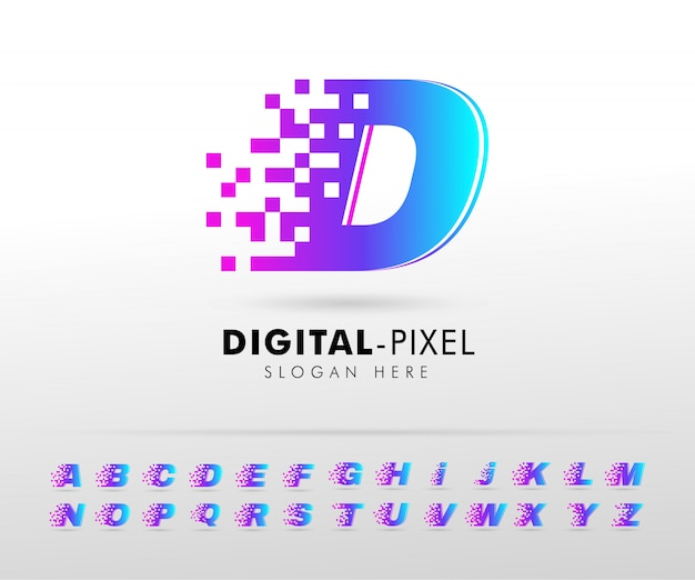 Modèle de conception de logo lettre alphabet pixel