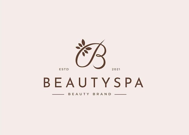 Modèle de conception de logo lettre b, illustrations de style féminin