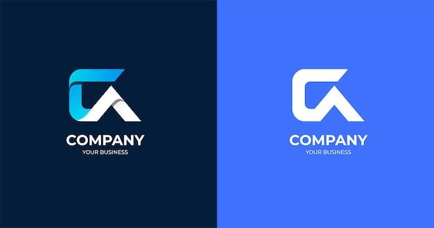 Modèle de conception de logo de lettre ca initiale