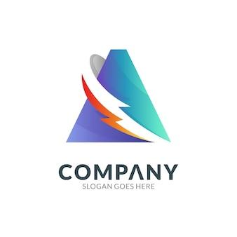 Modèle de conception de logo de la lettre a combinaison avec le swoosh du tonnerre