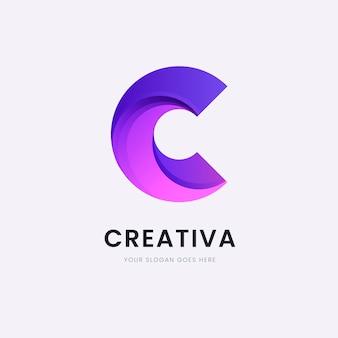 Modèle de conception de logo lettre c dégradé coloré