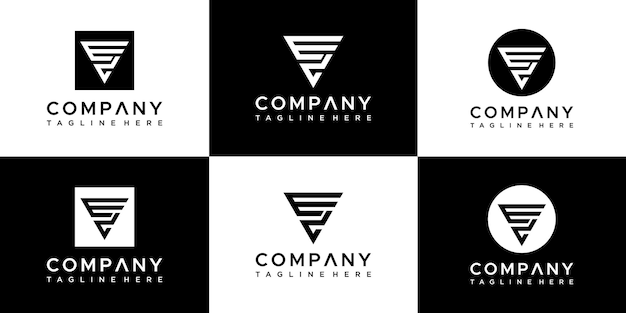 Modèle de conception de logo lettre ev