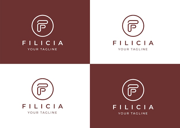 Modèle de conception de logo lettre f minimaliste avec forme de cercle