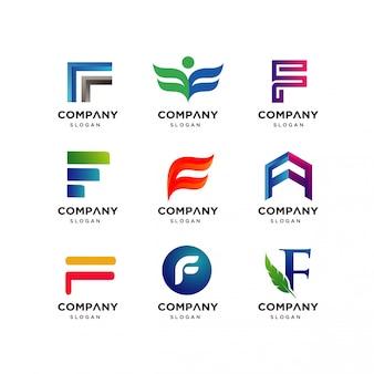 Modèle de conception de logo lettre f