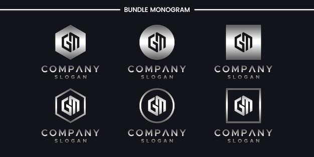 Modèle de conception de logo lettre gm