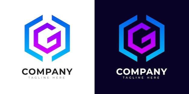 Modèle de conception de logo de lettre initiale g de style dégradé moderne