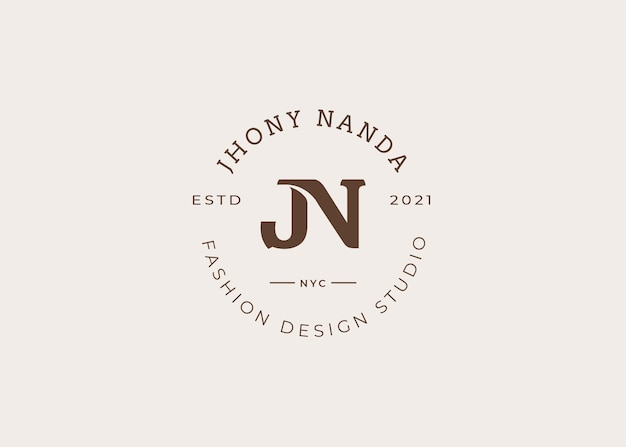 Modèle de conception de logo de lettre initiale jn, style vintage, illustrations vectorielles