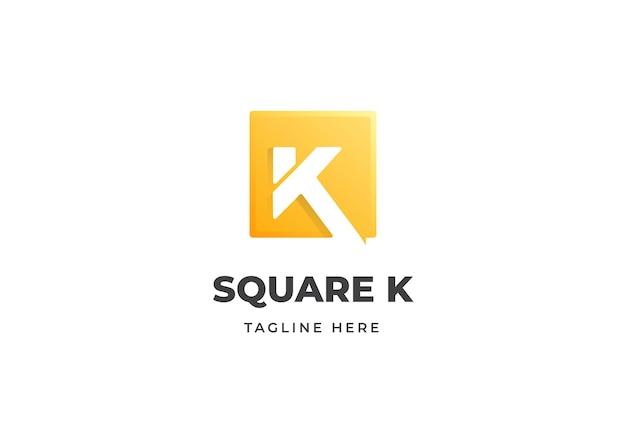 Modèle de conception de logo lettre initiale k avec illustration de conception de forme carrée
