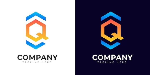 Modèle de conception de logo lettre initiale q de style dégradé moderne