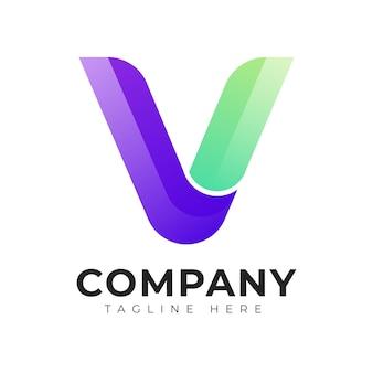 Modèle de conception de logo de lettre initiale de style dégradé moderne v