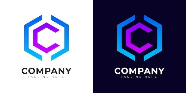 Modèle de conception de logo de lettre initiale c de style dégradé moderne