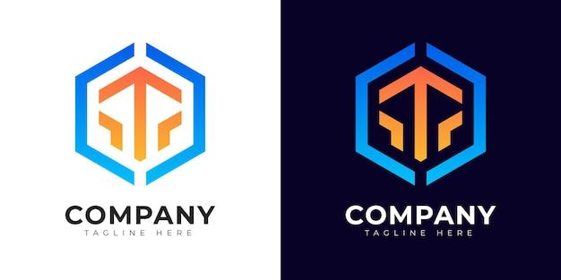 Modèle de conception de logo de lettre initiale t de style dégradé moderne
