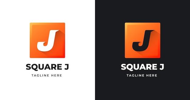 Modèle de conception de logo lettre j avec style de forme carrée