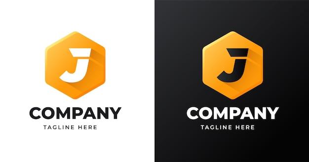 Modèle de conception de logo lettre j avec style de forme géométrique