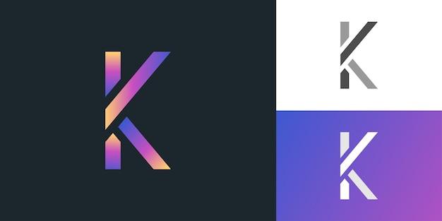 Modèle de conception de logo lettre k dans un concept moderne coloré. logo k initial. symbole de l'alphabet graphique pour l'identité d'entreprise