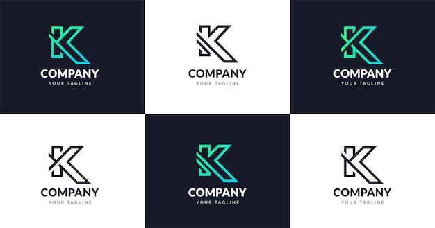 Modèle de conception de logo de lettre k initiale, concept de ligne