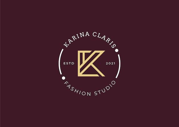 Modèle de conception de logo lettre k initiale minimaliste, style vintage, illustrations vectorielles