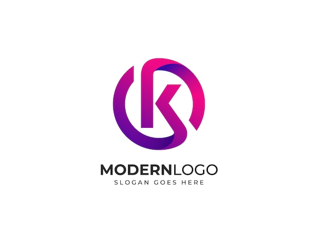 Modèle de conception de logo lettre k moderne