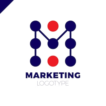 Modèle de conception de logo lettre m logotype de dotation marketing rate