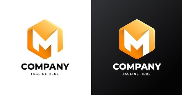 Modèle de conception de logo lettre m avec style de forme géométrique