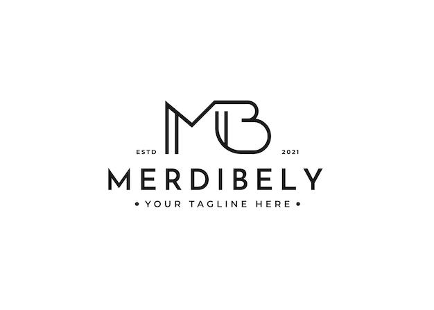 Modèle de conception de logo lettre mb